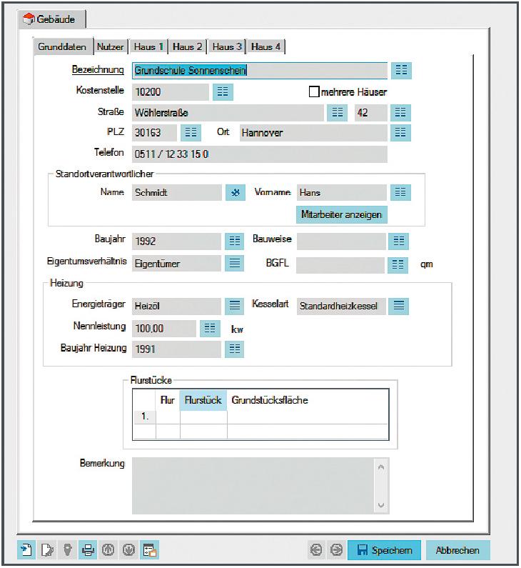 Screenshot enaio® Gebäudemanagement Datenmaske