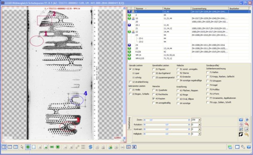 Screenshot enaio® Trassologischer Spurenvergleich