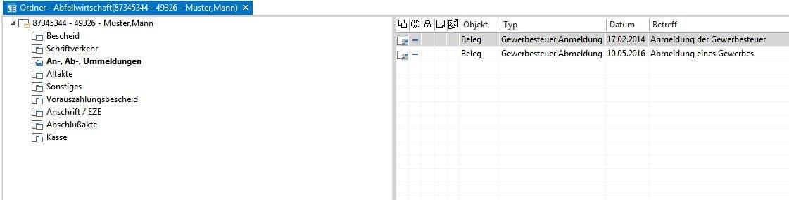 Ein Screenshot zeigt ein Register mit Dokumenten der Abfallwirtschaft.