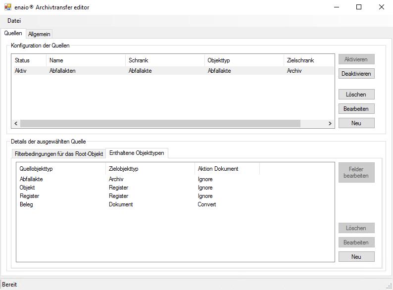 Screenshot zeigt die Objekttypen im enaio® Archivtransfer Editor.
