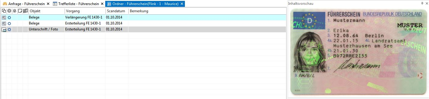 Screenshot enaio® Führerscheinverwaltung Ordneransicht
