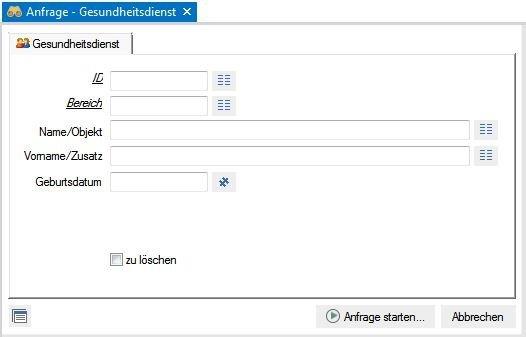 Screenshot enaio® Gesundheitsdienst Anfrage