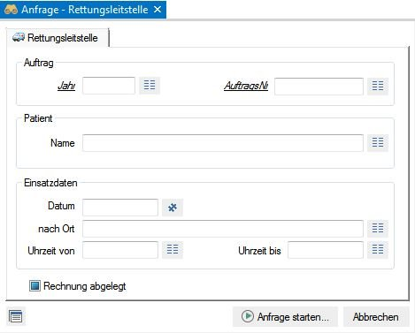 Screenshot enaio® Rettungsleitstelle Anfragemaske