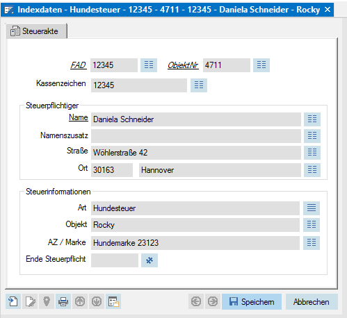 Der Screenshot zeigt die Indexdaten einer Steuerakte in enaio®.