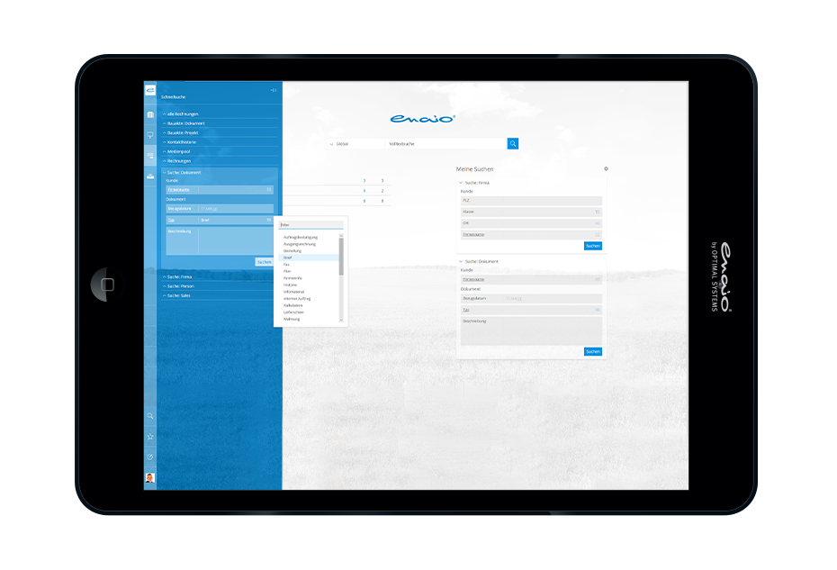Screenshot enaio® mobile app on tablet