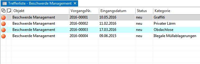 Der Screenshot zeigt eine Trefferliste im Beschwerdemanagement Register.
