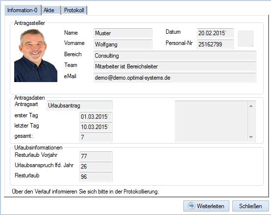 Screenshot Urlaubsverwaltung Datenblatt