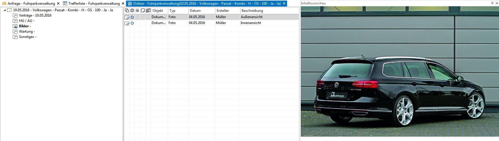 enaio® Fahrzeugverwaltung Ordneransicht