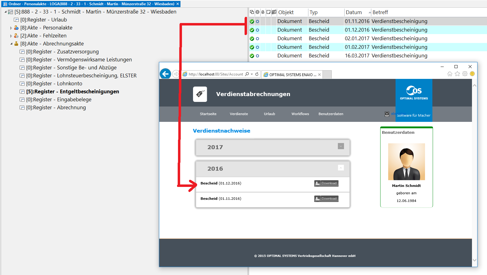 Screenshot enaio® Personalakte Portalintegration