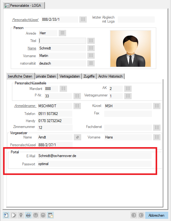 Screenshot enaio® Personalakte Verknüpfung mit Intranet