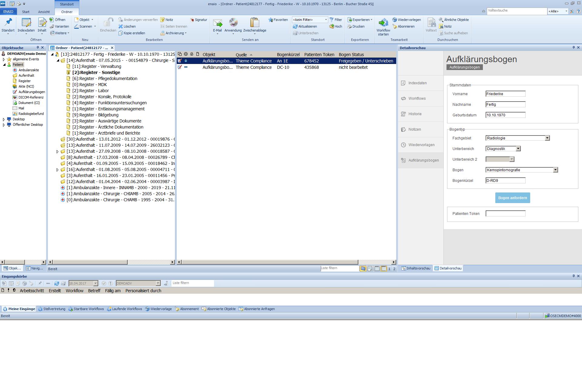 Der Screenshot zeigt den Aufklärungsbogen in enaio®.