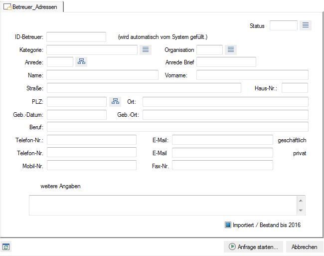 Der Screenshot zeigt die Betreuer Adressen Suche in enaio®.