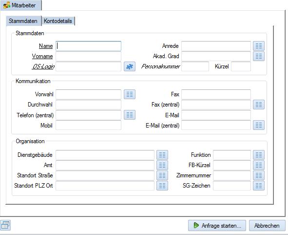 Screenshot enaio® Mitarbeiterverwaltung Anfragemaske