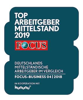 Logo Award Top Arbeitgeber Mittelstand 2019 from FOCUS and Kununu