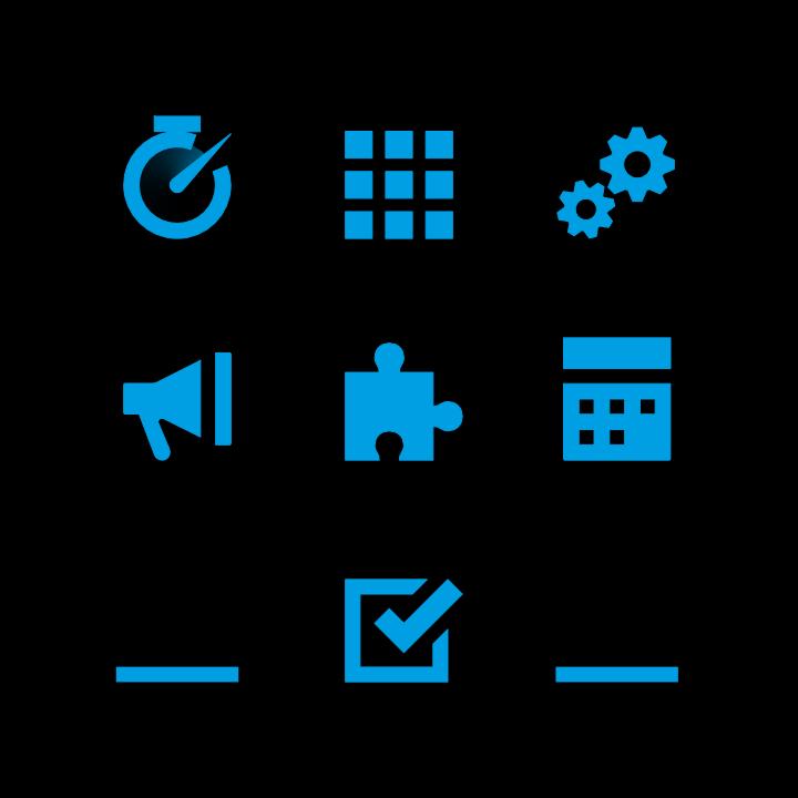 Grafik mit verschiedenen blauen Icons auf schwarzem Hintergrund