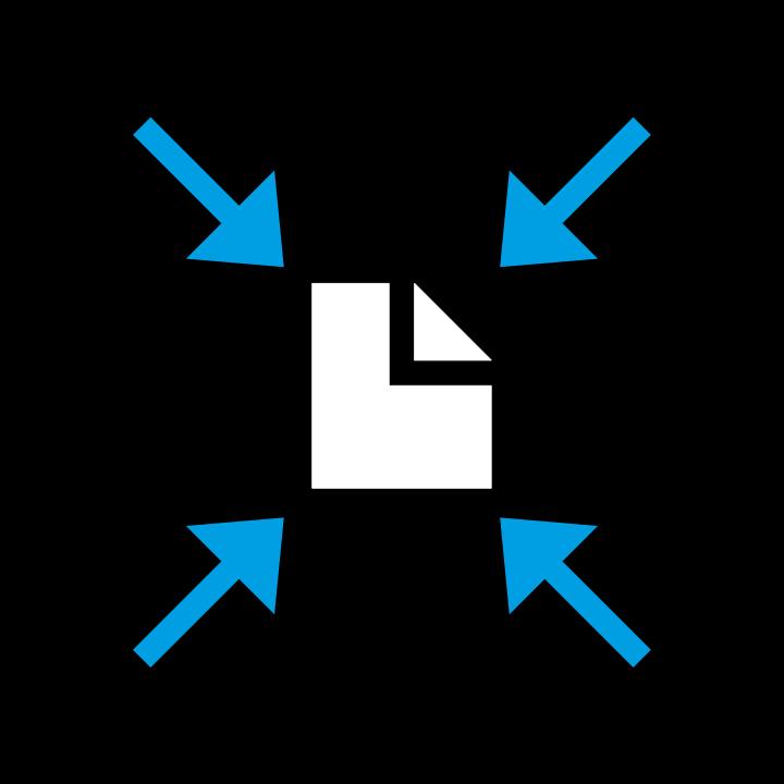 Grafik Dokument auf schwarzem Hintergrund, auf das vier blaue Pfeile zeigen