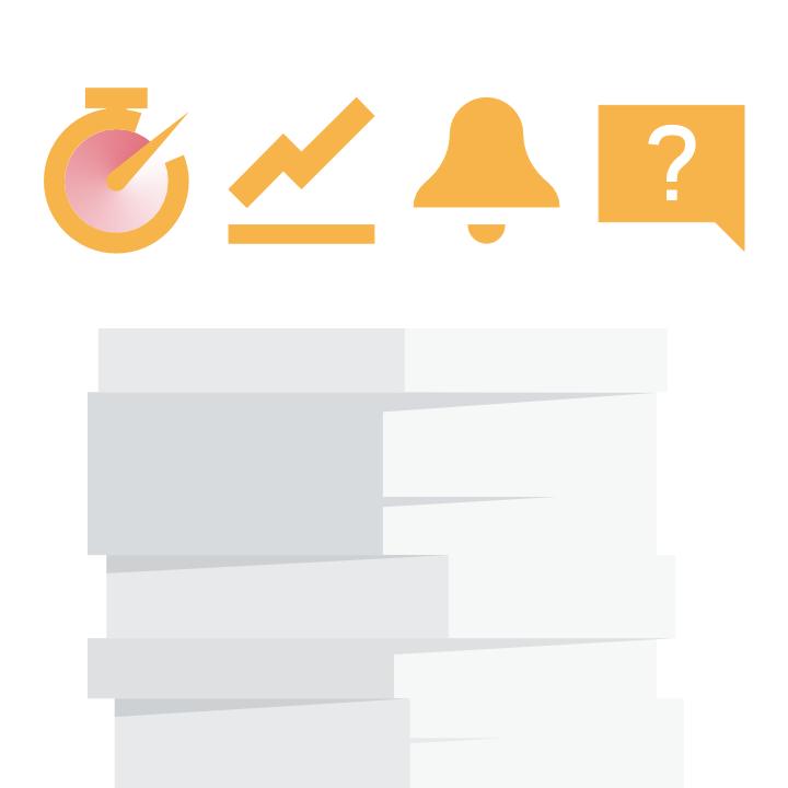 Grafik mit Icons über einem Dokumentenstapel