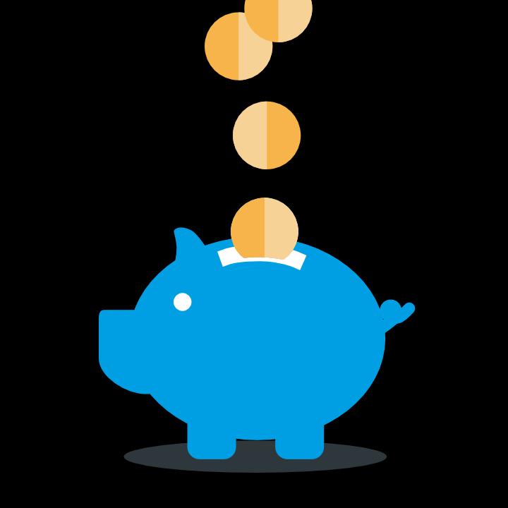 Grafik mit blauem Sparschwein, in das Münzen fallen