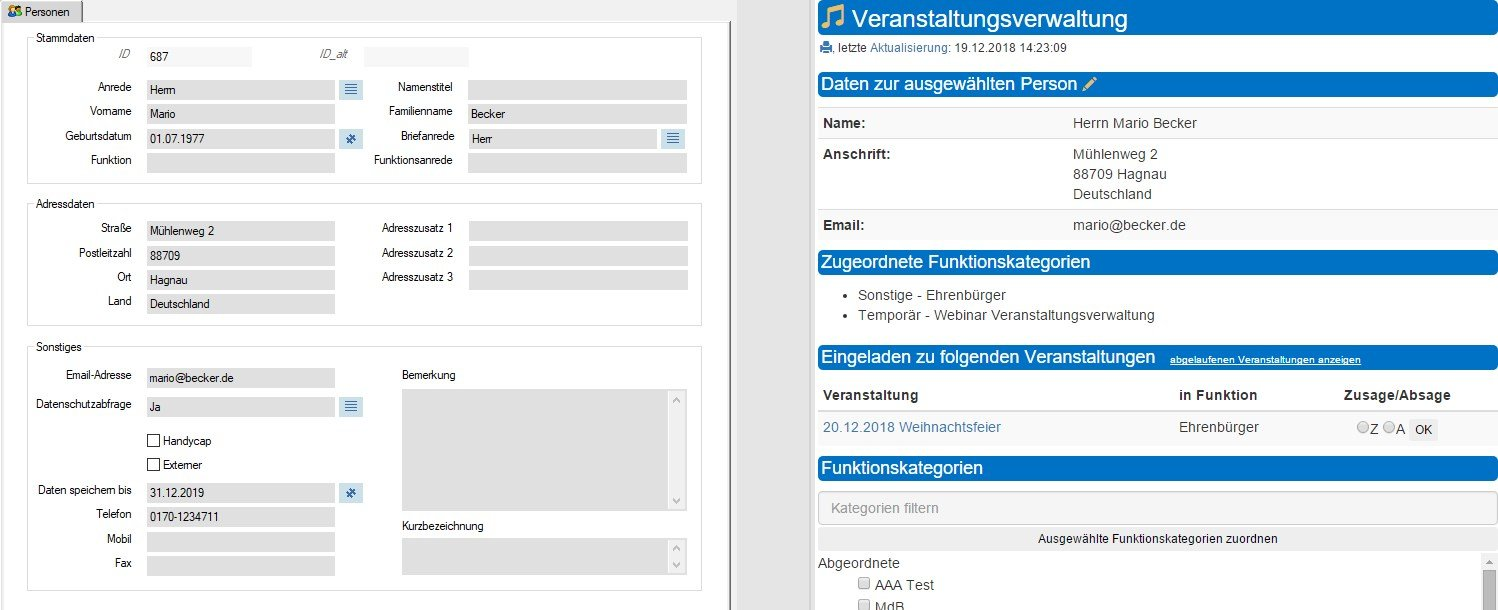 Screenshot enaio® Einladungsmanagement Personendaten