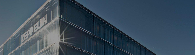 Gebäude der Zeppelin Baumaschinen GmbH in der Sonne
