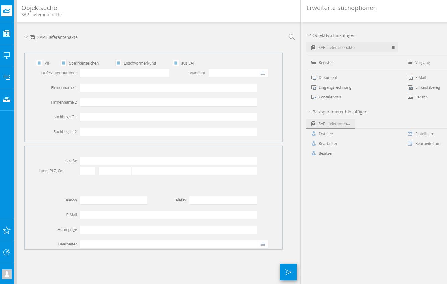 Screenshot der Objektsuche in Bereich enaio® SAP-Lieferantenakte