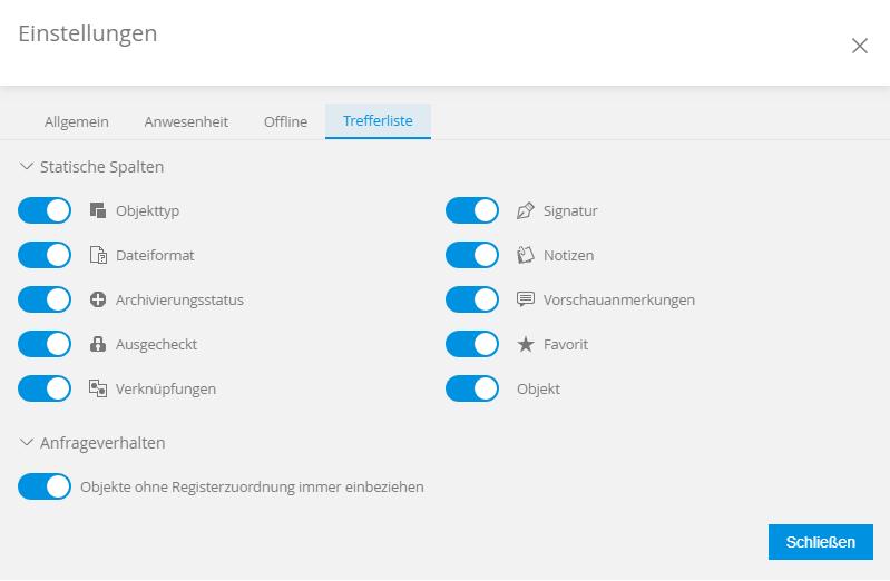 enaio webclient Einstellungen Icons