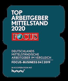 Siegel Top-Arbeitgeber Mittelstand 2020 von Focus Business und Kununu