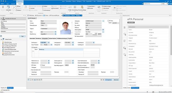 Screenshot der enaio®-Lösung Personalakte mit einer Übersicht der Indexdaten