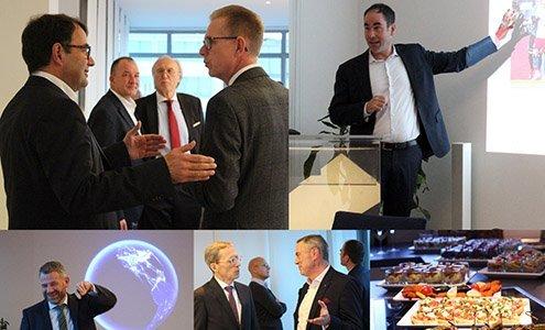 Kollage mit Kunden und Partnern im Gespräch beim Neujahrsempfang 2020 von OPTIMAL SYSTEMS