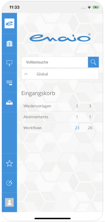 Screenshot enaio® mobile Startseite