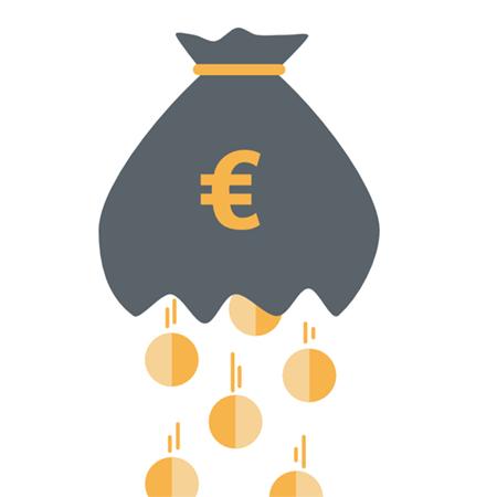 Grafik mit einem Münzsack, aus dem Münzen fallen