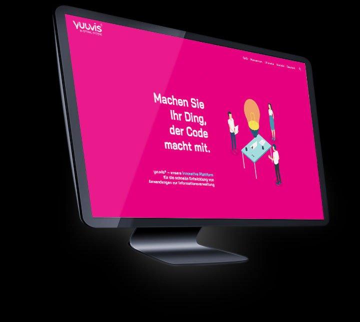 Screenshot der yuuvis-Website auf einem Desktop Mockup