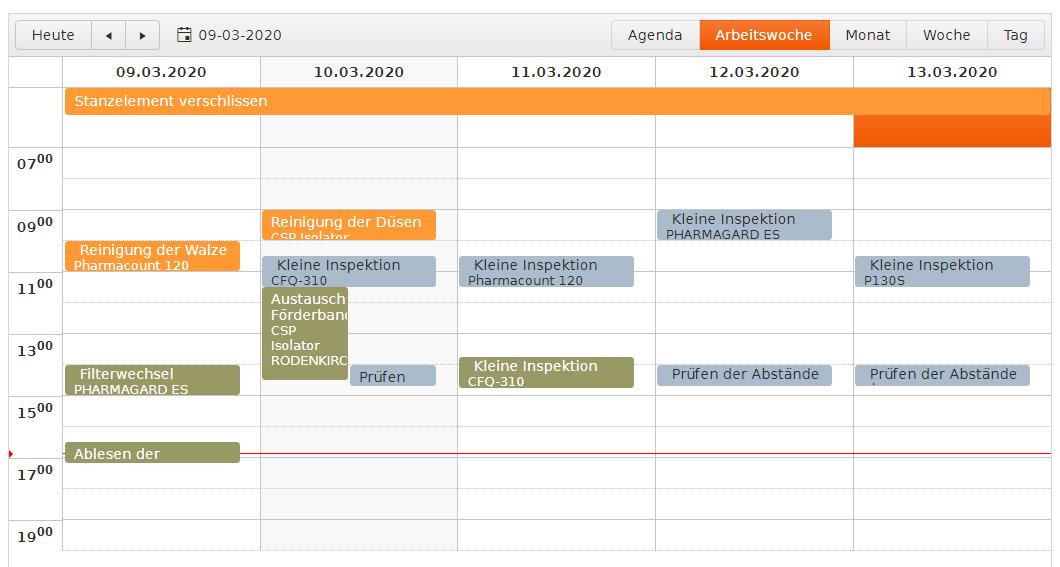 BPL Gerätemanagement Kalenderansicht