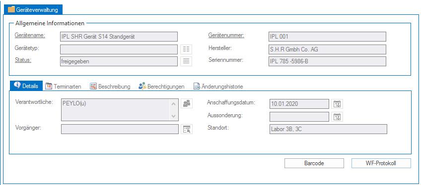BPL Geräteverwaltung Indexmaske