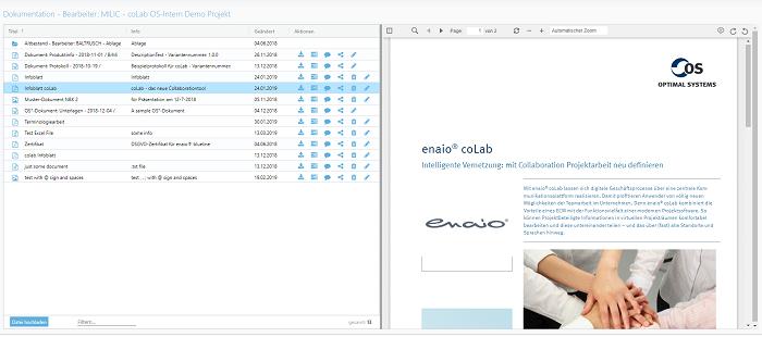 Screenshot enaio® coLab-Oberfläche