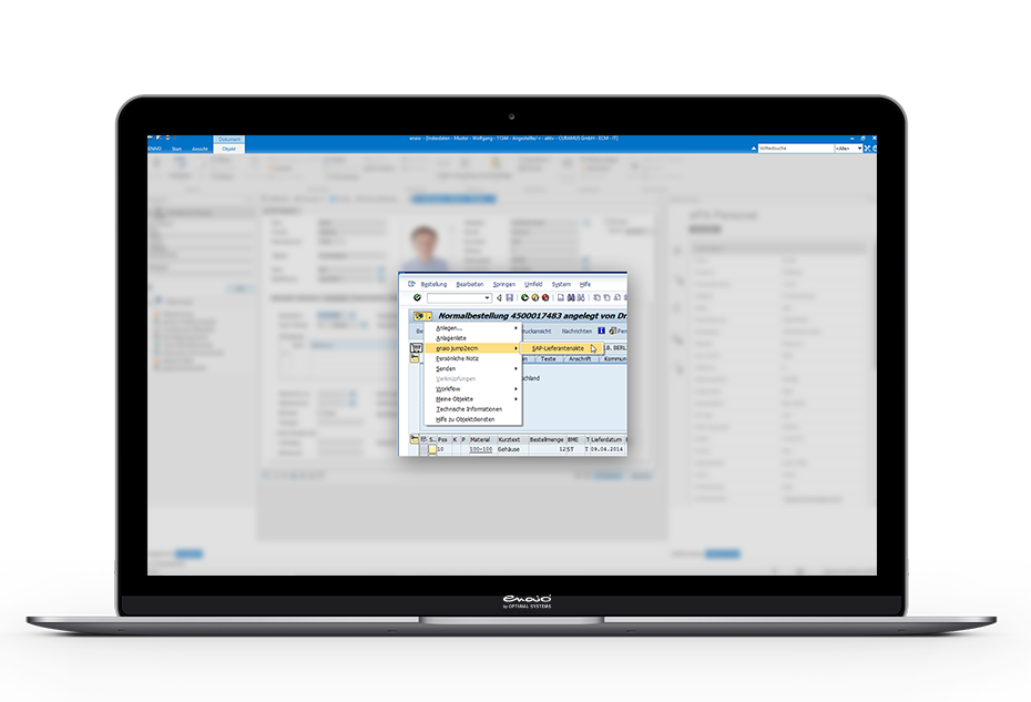 Screenshot enaio® SAP-ArchiveLink-Schnittstelle