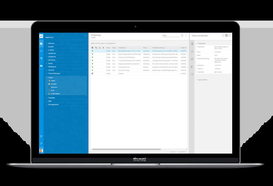 Notebook-Darstellung Digitale Projektakte Screenshot Trefferliste