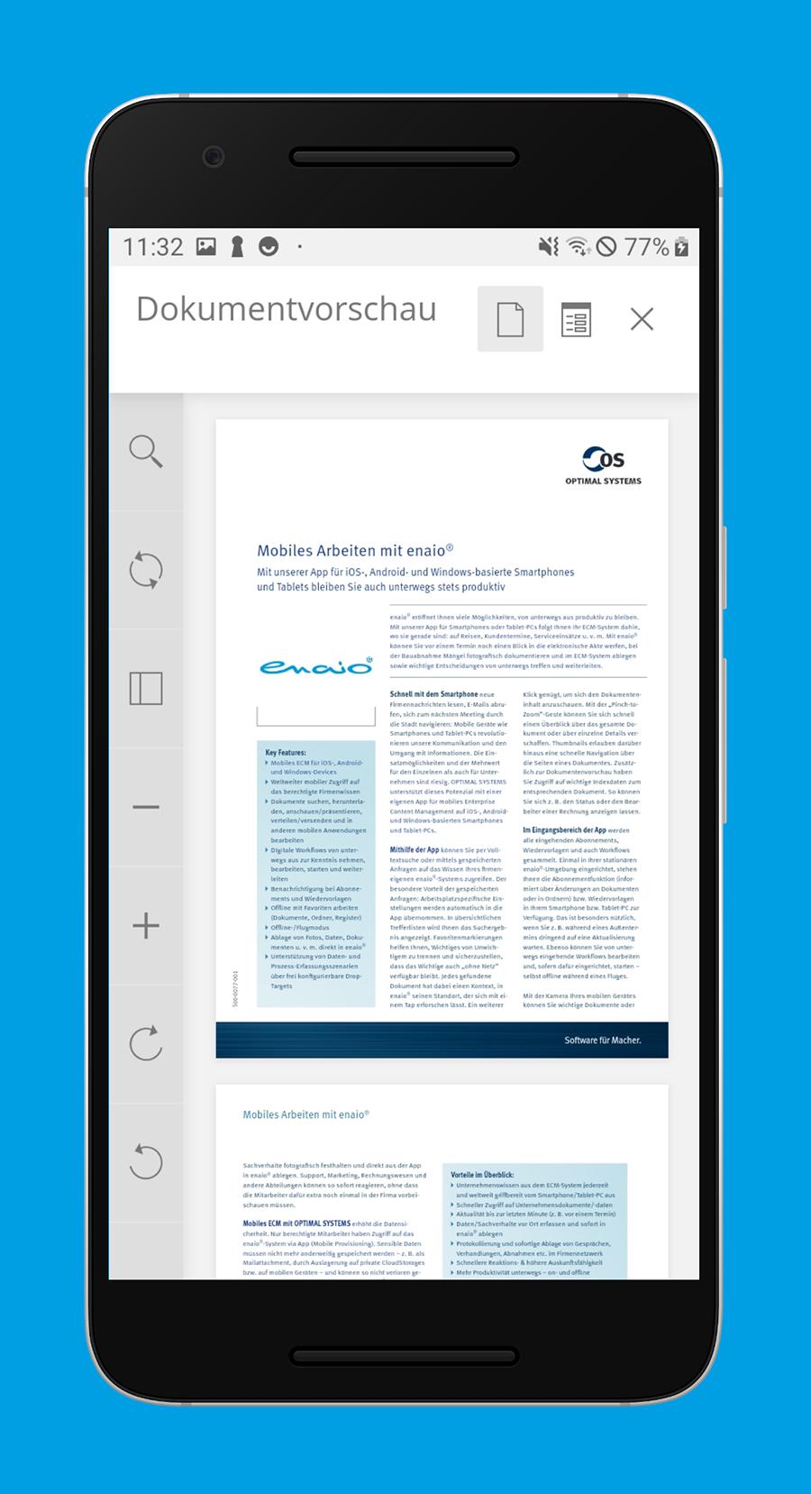 enaio® Dokumentenvorschau mit Struktur, Anhängen, Zooming etc.