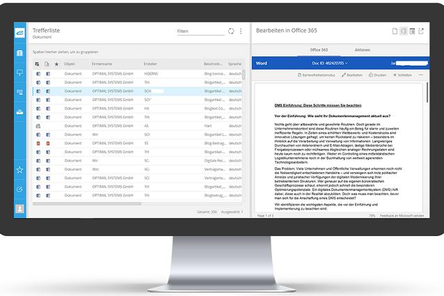 Microsoft 365 Office Integration enaio Screen