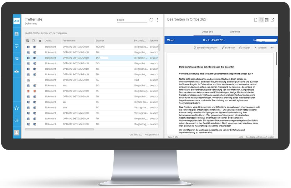 enaio Microsoft 365 Office Integration Mockup