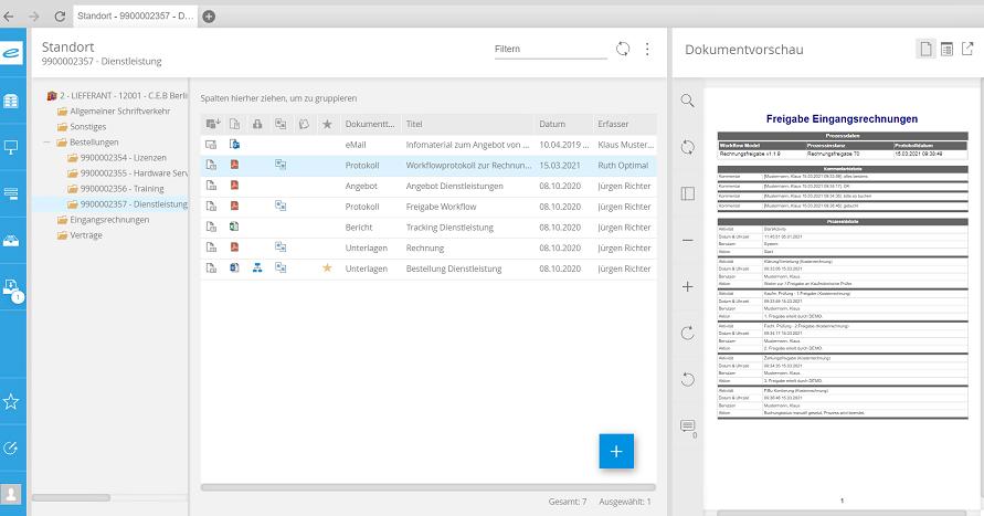 Rechnungsstandort Workflow Screenshot